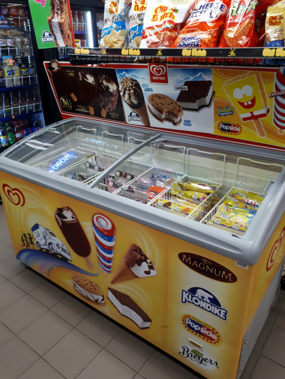 ice creams at convenience store